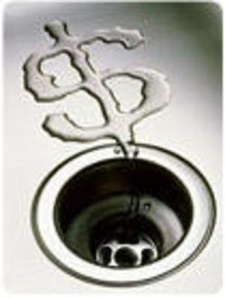 Money down drain dollar sign water