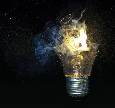 Light bulb fire