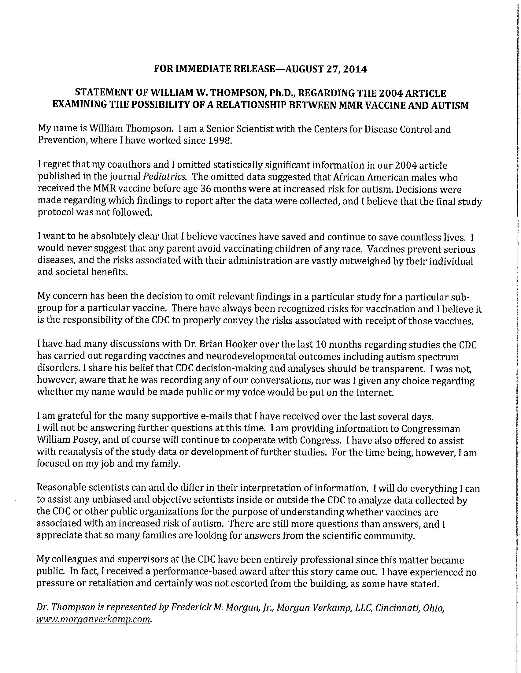 Statement from William Thompson RE Pediatrics MMR African