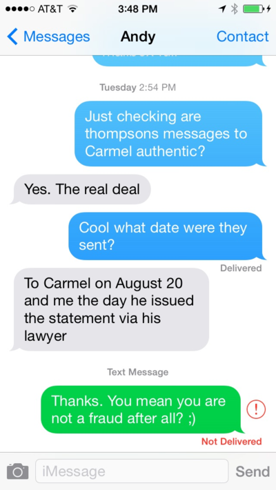 Carmel Andy Text