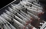 Swine flu shot syringes