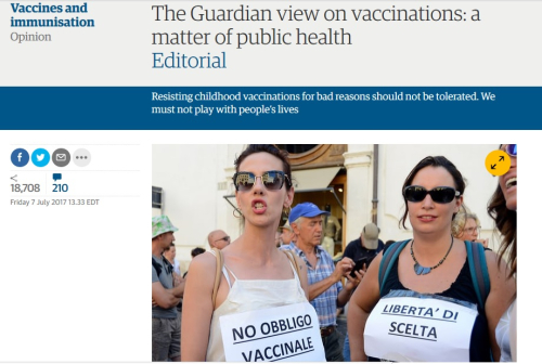 Guardian vaccines editorial