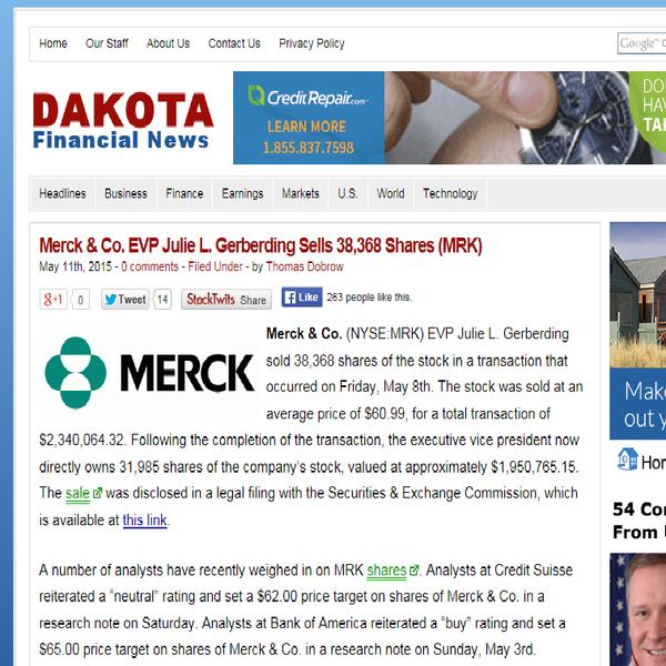 Gerberding Sells Merck Stock