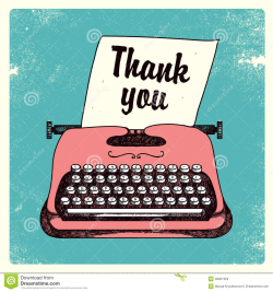 Retro pink typewriter thank you