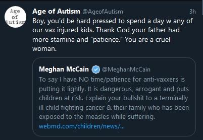 Tweet to McCain Vax Injured kids
