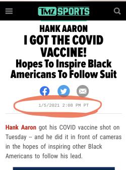 Hank Aaron Gets Vaxed